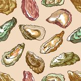 Oysters seamless pattern, sea delicatessen product set. Bivalve molluscs with rough irregular shell, seafood restaurant decor. Vector illustration stock illustration