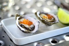 Oysters served with salmon roe. 2 oysters served with salmon roe Royalty Free Stock Photo