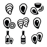 Oysters shell, sauce - sea food icons set Royalty Free Stock Photography