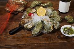 Fresh oysters with white wine bottle. Oysters on the table with wine. Food background royalty free stock image