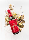 Oysters and wine or  on white wooden background Stock Image