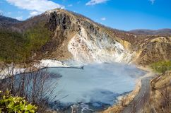 Oyunuma热水沼泽和Mt Hiyori上升 库存图片
