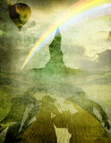 Oz 1 balloon and rainbow. Dorothy and friends with Emerald city on horizon Stock Images
