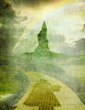 Oz 1 with dorothy. Dorothy with rainbow over yellow brick road and emerald city Royalty Free Stock Image