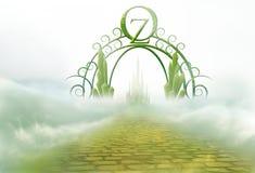 Oz gateway with yellow brick road. Ornate gateway to oz with yellow brick road leading to emerald city royalty free illustration