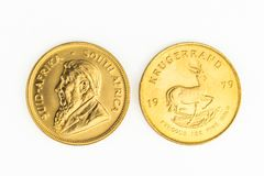 1 OZ gold coin - One  Krugerrand gold  coin. 1 OZ gold coin - Krugerrand gold  coin Royalty Free Stock Photography