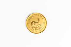 1 OZ gold coin - One  Krugerrand gold  coin. 1 OZ gold coin - Krugerrand gold  coin Royalty Free Stock Photo