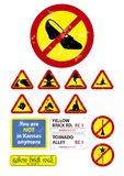 Oz signs. Selection of road signs you might find in oz Royalty Free Stock Photography