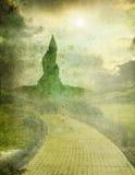 Oz 1. Yellow brick road with emerald city on horizon Stock Image