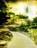 Oz 2. Yellow brick road with emerald city on horizon Stock Photography