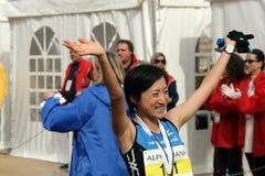 Ozaki Akemi do vencedor da maratona de Japão Imagens de Stock