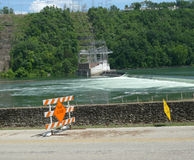 Ozark Beach Dam flooding and road closed signage Stock Photography