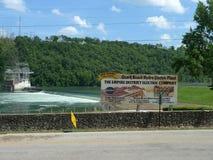 Ozark Beach Dam flooding and signage Stock Photo