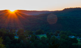 Ozark mountain valley sunset Stock Photography