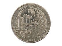 Ozark Riverways Commemorative Quarter Coin. Ozark Riverways Missouri commemorative quarter coin isolated on white background royalty free stock photos