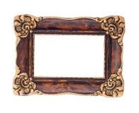 Ozdobna brown i złota barok rama odizolowywająca na białym plecy Obraz Stock