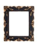 Ozdobna czarna i złota barok rama odizolowywająca na białym plecy Obrazy Royalty Free