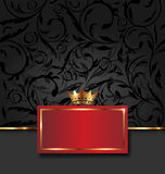 Ozdobna dekoracyjna rama z złotą koroną Zdjęcia Royalty Free