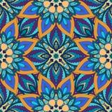 Ozdobna kwiecista bezszwowa tekstura, niekończący się wzór z rocznika mandala elementami Zdjęcie Stock