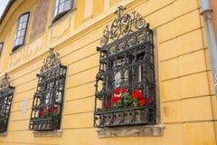 Ozdobne dokonanego żelaza okno żaluzje obraz stock