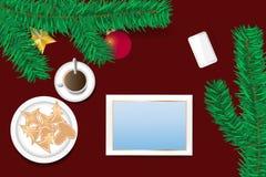 Ozdobni boże narodzenia z pustym ekranem pastylki pojęcie Obraz Royalty Free