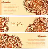 Ozdobni henna ornamentu rocznika wektoru sztandary Fotografia Royalty Free