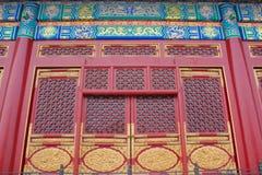 Ozdobni Orientalni drzwi, Pekin Chiny Zdjęcie Royalty Free