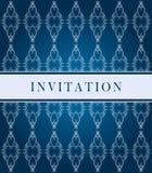 ozdobny błękit zaproszenie karciany ciemny Obraz Stock