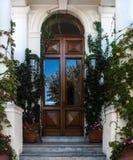 Ozdobny Drewniany drzwi Obrazy Stock