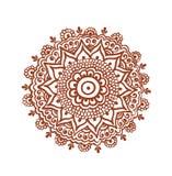 Ozdobny okrąg, mandala - indyjski henna tatuaż Mehendi etniczny wektor ilustracji