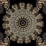 Ozdobny piękny złocisty arabeskowy wektorowy bezszwowy wzór Elegancja języka arabskiego stylu round koronki kwiecisty mandala Orn royalty ilustracja