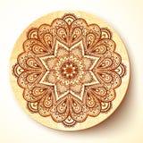 Ozdobny wektoru talerz z hindusa stylu ornamentem Zdjęcia Stock