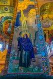Ozdobny wnętrze i ikony wybawiciel na Rozlewałam krwi lub katedra rezurekcja Chrystus w Świątobliwym Petersburg, Rosja zdjęcia royalty free