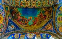 Ozdobny wnętrze i ikony wybawiciel na Rozlewałam krwi lub katedra rezurekcja Chrystus w Świątobliwym Petersburg, Rosja fotografia stock