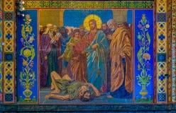 Ozdobny wnętrze i ikony wybawiciel na Rozlewałam krwi lub katedra rezurekcja Chrystus w Świątobliwym Petersburg, Rosja zdjęcie royalty free