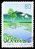 Oze High Moor in early spring, Prefecture Stamps - Gunma serie, circa 1998. MOSCOW, RUSSIA - MARCH 23, 2019: A stamp printed in Japan shows Oze High Moor in stock photos