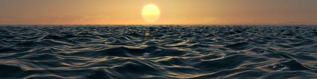 Ozean an der Sonnenuntergang-Panorama-Illustration Stock Abbildung