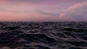 Ozean-Fliege vorbei bei Sonnenuntergang stock footage