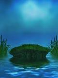 Ozean-Hintergrund mit moosigem Felsen und Cattails Lizenzfreie Stockbilder