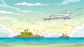 Ozean met Eilanden en Vliegtuig royalty-vrije illustratie