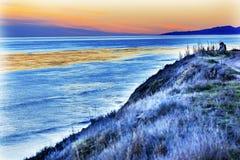 Ozean-Sonnenuntergang Goleta Califo Eilwood Mesa Sand Dune Lovers Pacific Lizenzfreies Stockfoto