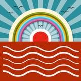 Ozean-Sonnenuntergang - Sonnenaufgang-Vektor-Illustration Lizenzfreies Stockfoto