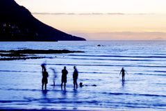 Ozeanansicht am Sonnenuntergang Stockfotos