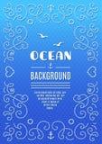 Ozeanhintergrundmarinerahmenvektor nautisch lizenzfreie abbildung