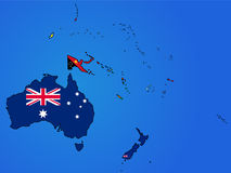 Ozeanien-Flaggen-Karte Lizenzfreie Stockfotos