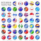 Ozeanien-Staatsflagge-Knöpfe eingestellt Stockfoto