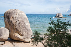 Ozeanische Strandszene mit großen Felsen Stockfotos