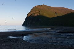 Ozeanküste, Kommandant Islands stockfotos