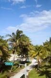 Ozeanlaufwerk-Straßenschildsüdstrandpark Miami Lizenzfreie Stockfotos
