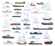 Ozeanschiffe Yachtsegelboote und reisen große und kleine Schiffvektor-Karikatursammlung lizenzfreie abbildung